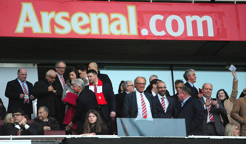 Lincoln City chairman Bob Dorrian (front centre) before kick off<br /> <br /> Photographer Chris Vaughan/CameraSport<br /> <br /> The Emirates FA Cup Quarter-Final - Arsenal v Lincoln City - Saturday 11th March 2017 - The Emirates - London<br />  <br /> World Copyright &copy; 2017 CameraSport. All rights reserved. 43 Linden Ave. Countesthorpe. Leicester. England. LE8 5PG - Tel: +44 (0) 116 277 4147 - admin@camerasport.com - www.camerasport.com