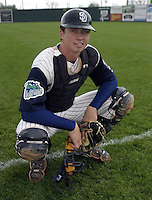 April 20, 2004:  Catcher Colt Morton of the Fort Wayne Wizards, Midwest League (Low-A) affiliate of the San Diego Padres, during a game at Memorial Stadium in Fort Wayne, IN.  Photo by:  Mike Janes/Four Seam Images