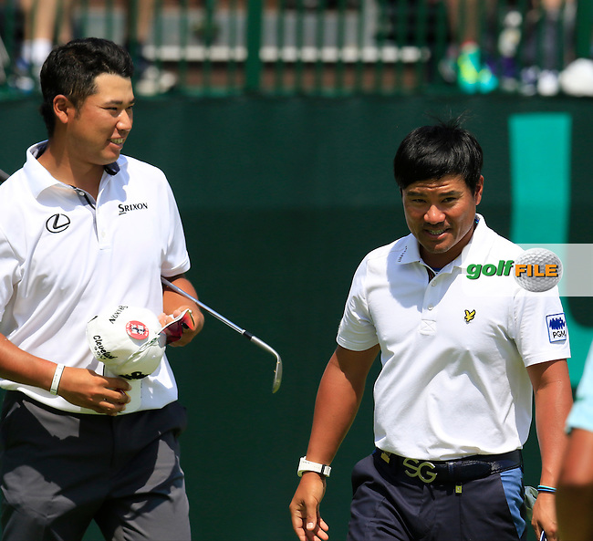 Yusaku Miyazato and Hideki Matsuyama (JPN) at the 18th green during Wednesday's Practice Day of the 2016 U.S. Open Championship held at Oakmont Country Club, Oakmont, Pittsburgh, Pennsylvania, United States of America. 15th June 2016.<br /> Picture: Eoin Clarke | Golffile<br /> <br /> <br /> All photos usage must carry mandatory copyright credit (&copy; Golffile | Eoin Clarke)