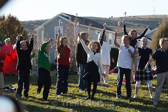 Trent Nelson     The Salt Lake Tribune.SFC Mike Jones, Utah National Guard, was welcomed home to Eagle Mountain by family, friends and neighbors who lined the streets of Eagle Mountain Friday, November 12, 2010. On his fourth deployment, Jones was injured in Afghanistan in September.