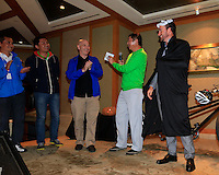 Graeme McDowell makes an appearance as the mystery guest at the BMW Halloween Media Party held in the Jin Mao Tower after Friday's Round 2 of the 2014 BMW Masters held at Lake Malaren, Shanghai, China 31st October 2014.<br /> Picture: Eoin Clarke www.golffile.ie