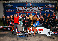 Sep 2, 2017; Clermont, IN, USA; NHRA top fuel driver Steve Torrence celebrates with his crew after winning the Traxxas Shootout specialty race during qualifying for the US Nationals at Lucas Oil Raceway. Mandatory Credit: Mark J. Rebilas-USA TODAY Sports