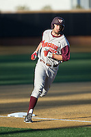Brendon Hayden (34) of the Virginia Tech Hokies rounds third base after hitting a 3-run home run in the first inning against the Wake Forest Demon Deacons in game two of a doubleheader at Wake Forest Baseball Park on March 7, 2015 in Winston-Salem, North Carolina.  (Brian Westerholt/Four Seam Images)