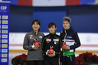 SPEEDSKATING: CALGARY: Olympic Oval, 02-12-2017, ISU World Cup, Podium 1000m Ladies Division B, Seung-Hi  Park (KOR), Arisa  Go (JPN), Letitia de Jong (NED), ©photo Martin de Jong
