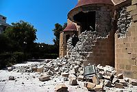 Pictured: Part of an Orthodox church has collapsed in Kos town, Greece.<br /> Re: A 6.4 Richter Scale earthquake has hit the tourist island of Kos in Greece.