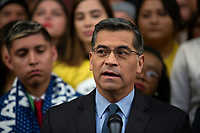 California Attorney General Xavier Becerra, joined by Democratic lawmakers, speaks during a press conference on the Deferred Action for Childhood Arrivals program on Capitol Hill in Washington D.C., U.S. on Tuesday, November 12, 2019.  The Supreme Court is currently hearing a case that will determine the legality and future of the DACA program.  <br /> <br /> Credit: Stefani Reynolds / CNP /MediaPunch