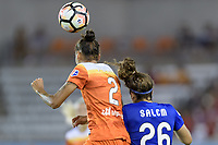 Houston, TX - Wednesday June 28, 2017: Poliana heads the ball over Angela Salem during a regular season National Women's Soccer League (NWSL) match between the Houston Dash and the Boston Breakers at BBVA Compass Stadium.