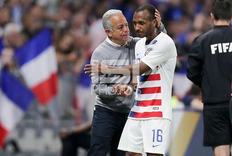 Lyon, France - Saturday June 09, 2018: Dave Sarachan, Julian Green during an international friendly match between the men's national teams of the United States (USA) and France (FRA) at Groupama Stadium.