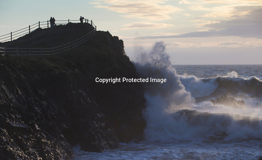 08/04/16 <br /> <br /> People watch as huge waves crash into Hartland Quay, North Devon, as strong winds and high tides help to set the dramatic scene.<br /> <br /> All Rights Reserved: F Stop Press Ltd. +44(0)1335 418365   +44 (0)7765 242650 www.fstoppress.com