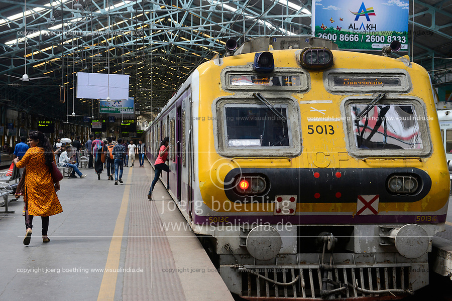 INDIA, Mumbai, Churchgate railway station for suburban train Western Railway WR, commuter travel between suburbans and city centre