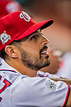 6 October 2017: Washington Nationals pitcher Gio Gonzalez looks out from the dugout prior to the start of the first NLDS Game against the Chicago Cubs at Nationals Park in Washington, DC. The Cubs shut out the Nationals 3-0 to take a 1-0 lead in their best of five Postseason series. Mandatory Credit: Ed Wolfstein Photo *** RAW (NEF) Image File Available ***