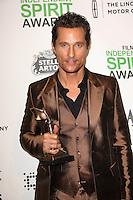 Matthew McConaughey<br /> at the 2014 Film Independent Spirit Awards Press Room, Santa Monica Beach, Santa Monica, CA 03-01-14<br /> David Edwards/Dailyceleb.com 818-249-4998