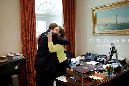 United States President Barack Obama bids farewell to Personal Secretary Katie Johnson on her last day at the White House, June 10, 2011. .Mandatory Credit: Pete Souza - White House via CNP