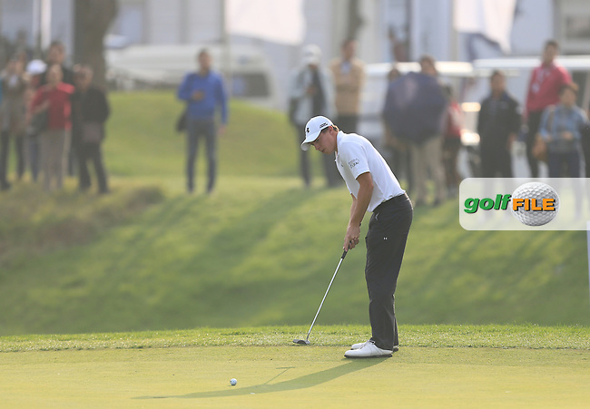 Matthew Fitzpatrick (ENG) on the 18th green during Round 4 of the BMW Masters at Lake Malaren Golf Club in Boshan, Shanghai, China on Sunday 15/11/15.<br /> Picture: Golffile | Thos Caffrey<br /> <br /> All photo usage must carry mandatory copyright credit (&copy; Golffile | Thos Caffrey)