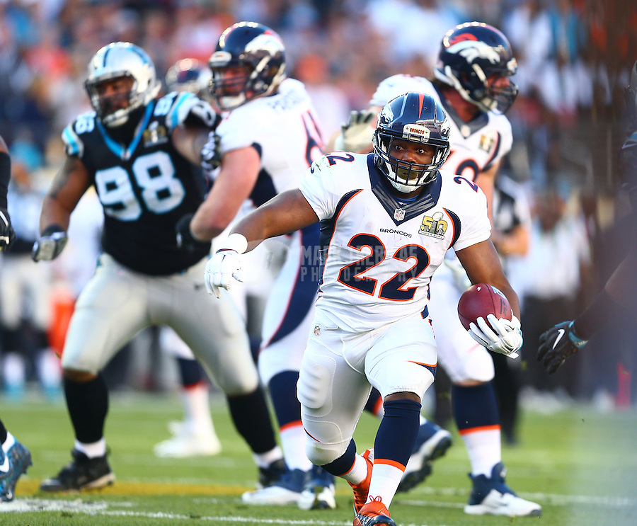 Feb 7, 2016; Santa Clara, CA, USA; Denver Broncos running back C.J. Anderson (22) runs the ball against the Carolina Panthers in Super Bowl 50 at Levi's Stadium. Mandatory Credit: Mark J. Rebilas-USA TODAY Sports