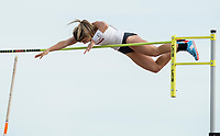 NWA Democrat-Gazette/BEN GOFF @NWABENGOFF<br /> Victoria Hoggard of Arkansas makes an attempt Friday, April 12, 2019, during the women's pole vault at the John McDonnell Invitational at John McDonnell field in Fayetteville.