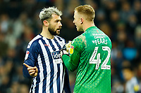 29th December 2019; The Hawthorns, West Bromwich, West Midlands, England; English Championship Football, West Bromwich Albion versus Middlesbrough; Charlie Austin of West Bromwich Albion confronts Aynsley Pears of Middlesbrough - Strictly Editorial Use Only. No use with unauthorized audio, video, data, fixture lists, club/league logos or 'live' services. Online in-match use limited to 120 images, no video emulation. No use in betting, games or single club/league/player publications