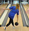Katherine Oswald of Levittown Division rolls during a Nassau County girls bowling match against MacArthur at Levittown Lanes on Wednesday, Jan. 3, 2018. She bowled a 449 series with a high game of 152.