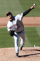 Rochester Red Wings relief pitcher Tyler Robertson #45 delivers a pitch during the opening game of the International League season against the Syracuse Chiefs at Alliance Bank Stadium on April 5, 2012 in Syracuse, New York.  Rochester defeated Syracuse 7-4.  (Mike Janes/Four Seam Images)