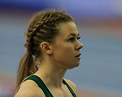 10th February 2019, Arena Birmingham, Birmingham, England; Spar British Athletics Indoor Championships; Hayley Mills concentrates at the start of the Women's 200m final during Day Two of the Spar Indoor Athletics Championships at Birmingham Arena