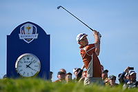 Justin Rose (Team Europe) watches his tee shot on 11 during Saturday's foursomes of the 2018 Ryder Cup, Le Golf National, Guyancourt, France. 9/29/2018.<br /> Picture: Golffile | Ken Murray<br /> <br /> <br /> All photo usage must carry mandatory copyright credit (© Golffile | Ken Murray)