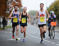 26/10/2015; 2015 SSE Airtricity Dublin Marathon, St Laurence's Road, Dublin. <br /> Thomas Cornthwaite ahead of Eoin Callaghan (left) and Gary O'Hanlon.<br /> Picture credit: Tommy Grealy/actionshots.ie.