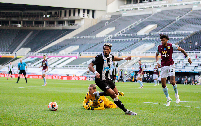 Newcastle United's Joelinton steals the ball from Aston Villa's Orjan Nyland<br /> <br /> Photographer Alex Dodd/CameraSport<br /> <br /> The Premier League - Newcastle United v Aston Villa - Wednesday 24th June 2020 - St James' Park - Newcastle <br /> <br /> World Copyright © 2020 CameraSport. All rights reserved. 43 Linden Ave. Countesthorpe. Leicester. England. LE8 5PG - Tel: +44 (0) 116 277 4147 - admin@camerasport.com - www.camerasport.com