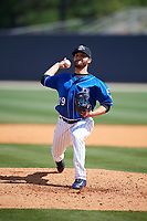 Biloxi Shuckers relief pitcher Bubba Derby (19) delivers a pitch during a game against the Jackson Generals on April 23, 2017 at MGM Park in Biloxi, Mississippi.  Biloxi defeated Jackson 3-2.  (Mike Janes/Four Seam Images)
