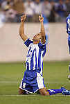 20 March 2008: Marvin Sanchez (HON) (16) reacts after scoring a goal in the penalty kick shootout. The Honduras U-23 Men's National Team defeated the Guatemala U-23 Men's National Team 6-5 on penalty kicks after a 0-0 overtime tie at LP Field in Nashville,TN in a semifinal game during the 2008 CONCACAF Men's Olympic Qualifying Tournament. With the penalty kick victory, Honduras qualifies for the 2008 Beijing Olympics.