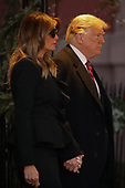 First lady Melania Trump and President Donald Trump leave the Blair House after paying a visit to the family of former President George H.W. Bush December 04, 2018 in Washington, DC. The Trumps were paying a condolence visit to the Bush family who are in Washington for former President George H.W. Bushs state funeral and related honors.<br /> Credit: Chip Somodevilla / Pool via CNP