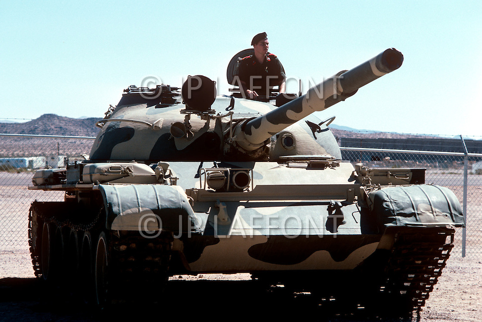 Fort Irwin, California - September 17, 1985. T62 Soviet tank and U.S. military personal training at the National Training Center located in the Mojave Desert. Opened on October 16, 1980, this facility is the primary training area for the United States Military.
