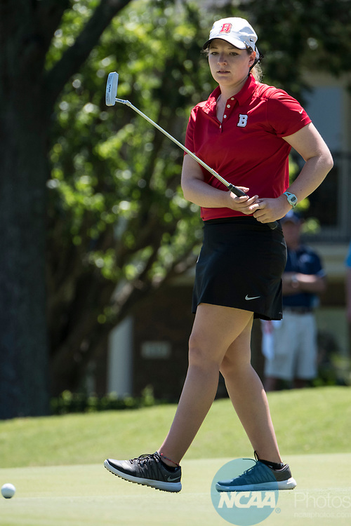HOUSTON, TX - MAY 12: Christina Herbert of Bridgewater College reacts to a missed putt during the Division III Women's Golf Championship held at Bay Oaks Country Club on May 12, 2017 in Houston, Texas. (Photo by Rudy Gonzalez/NCAA Photos/NCAA Photos via Getty Images)
