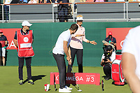 Omega Celebrity Masters putting challenge hosted by singer Bastian Baker (SUI) and Michelle Wie (USA) on the 18th green at the end of Saturday's Round 3 of the 2018 Omega European Masters, held at the Golf Club Crans-Sur-Sierre, Crans Montana, Switzerland. 8th September 2018.<br /> Picture: Eoin Clarke | Golffile<br /> <br /> All photos usage must carry mandatory copyright credit (&copy; Golffile | Eoin Clarke)