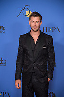 Chris Hemsworth poses backstage in the press room at the 75th Annual Golden Globe Awards at the Beverly Hilton in Beverly Hills, CA on Sunday, January 7, 2018.<br /> *Editorial Use Only*<br /> CAP/PLF/HFPA<br /> &copy;HFPA/PLF/Capital Pictures