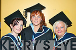 Anne Marie Scannell, Kiskeam, Mairead O'Driscoll, Portmagee and Helen O'Se from Killorglin graduating from Information Systems Management.