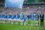 St Johnstone v Dundee United....17.05.14   William Hill Scottish Cup Final<br /> St Johnstone line up prior to kick off<br /> Picture by Graeme Hart.<br /> Copyright Perthshire Picture Agency<br /> Tel: 01738 623350  Mobile: 07990 594431