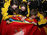 Ciara Butterly, Aoibheanna Campbell and Mark Byrnes of Dunleer Athletics Club inspect the McDonald's Little Athletic Packs presented to them at McDonalds, Drogheda as part of a Nationwide Programme which is encouraging and providing the resources for children to become involved in grassroots athletics...Photo NEWSFILE/Jenny Matthews.(Photo credit should read Jenny Matthews/NEWSFILE)....This Picture has been sent you under the condtions enclosed by:.Newsfile Ltd..The Studio,.Millmount Abbey,.Drogheda,.Co Meath..Ireland..Tel: +353(0)41-9871240.Fax: +353(0)41-9871260.GSM: +353(0)86-2500958.email: pictures@newsfile.ie.www.newsfile.ie.FTP: 193.120.102.198.