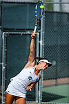 SURPRISE, AZ - MAY 11: Diana Vlad of the West Florida Argonauts serves a ball against Carolin Schmidt of the Barry Buccaneers during the Division II Women's Tennis Championship held at the Surprise Tennis & Racquet Club on May 11, 2018 in Surprise, Arizona. (Photo by Jack Dempsey/NCAA Photos via Getty Images)