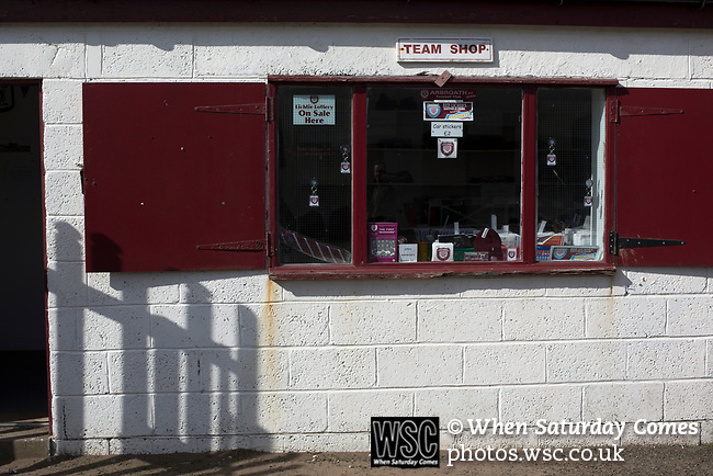 Arbroath 0 Edinburgh City 1, 15/03/2017. Gayfield Park, SPFL League 2. The deserted club shop at Gayfield Park as Arbroath hosted Edinburgh City (in yellow) in an SPFL League 2 fixture. The newly-promoted side from the Capital were looking to secure their place in SPFL League 2 after promotion from the Lowland League the previous season. They won the match 1-0 with an injury time goal watched by 775 spectators to keep them 4 points clear of bottom spot with three further games to play. Photo by Colin McPherson.