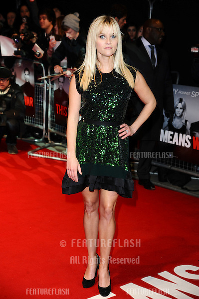 """Reese Witherspoon arriving for the UK premiere of """"This Means War"""" at the Odeon Kensington..January 30, 2012 London, UK.Picture: Steve Vas / Featureflash"""