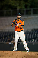 AZL Giants relief pitcher Julio Pena (32) on the mound during the game against the against the AZL Athletics on August 5, 2017 at Scottsdale Stadium in Scottsdale, Arizona. AZL Athletics defeated the AZL Giants 2-1. (Zachary Lucy/Four Seam Images)