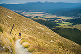 NEW ZEALAND, Nelson Lakes National Park, Woman Hiking Mount Roberts in Nelson Lakes National Park, Ben M Thomas