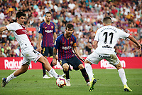 Leo Messi during the match between FC Barcelona and SD Huesca, corresponding to the week 3 of the Liga Santander, played at the Camp Nou, on 02th september 2018, in Barcelona, Spain.  Photo: Joan Valls/Urbanandsport /NurPhoto<br /> <br /> Barcelona - Huesca <br /> Calcio La Liga 2018/2019 <br /> Foto Panoramic/insidefoto