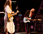 Raleigh, North Carolina- August 11, 2017<br /> <br /> (left to right) Katie Crutchfield and Allison Crutchfield of Waxahatchee. <br /> <br /> Ex Hex and Waxahatchee played an outdoor concert with MERGE Records label mates Superchunk at the North Carolina Museum of Art. (Photo by Jeremy M. Lange for The New York Times)