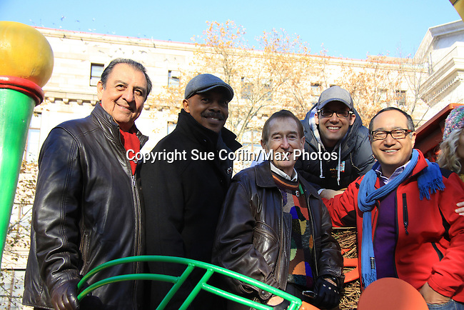 Sesame Street actors Emilio Delgato, Roscoe Orman, Bob McGrath, John Tartaglia and Alan Muraoka at the 86th Annual Macy's Thanksgiving Day Parade on November 22, 2012 in New York City, New York. (Photo by Sue Coflin/Max Photos)