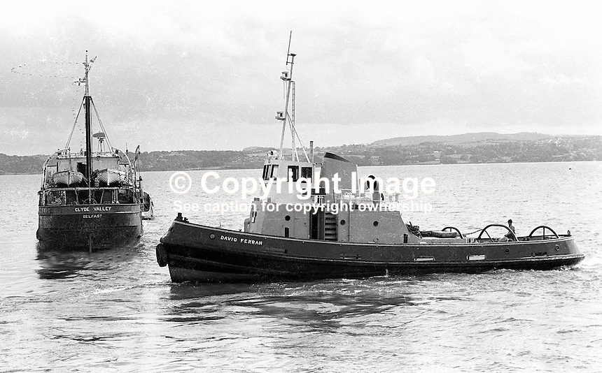 UVF gun-running ship, Clyde Valley, in Belfast Lough just off Carrickfergus, Co Antrim, N Ireland, on its way to the breakers's yard. NI Troubles. Belfast tug, David Fearon, in attendance. Ref: 197408020.<br />