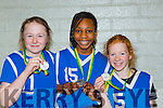 Tralee Imperials Clodagh Murray, Jane Akinrinlade and Aoife O'Rourke  celebrate show off their medals at the  County basketball finals in Killarney on Sunday