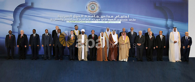 Egypt's President Abdel Fattah al-Sisi stands with Arab League heads in Sharm el-Sheikh, in the South Sinai governorate, south of Cairo, March 28, 2015. Arab League heads of state will hold a two-day summit to discuss a range of conflicts in the region, including Yemen and Libya, as well as the threat posed by Islamic State militants. Egyptian Presidency