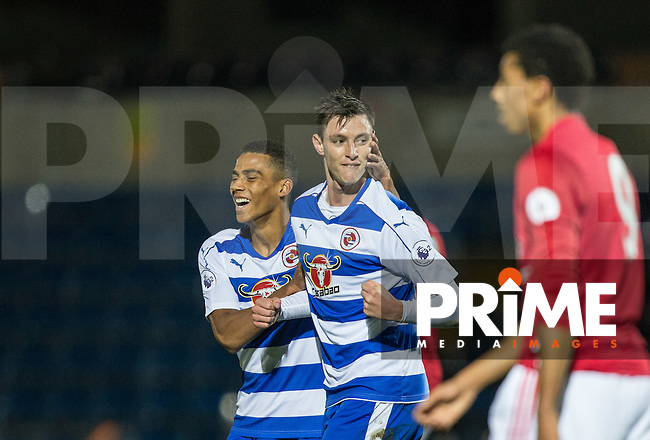 Dominic Hyam of Reading celebrates scoring during the EPL2 - U23 - Premier League 2 match between Reading and Manchester United at Adams Park, High Wycombe, England on 28 November 2016. Photo by Andy Rowland.