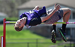 "Mascoutah high jumper Alex Midkiff clears 5'8"" at the Collinsville Invitational Boys Track & Field Meet on Saturday May 5, 2018. Tim Vizer 